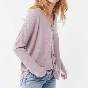 NWT Wishlist Button Down Tie Front Waffle Thermal